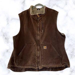 Carhartt 2XL vest Womens brown denim fleece zipper pockets workwear outdoor plus
